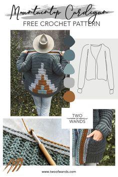 Diy Crochet Cardigan, Crochet Coat, Chunky Crochet, Crochet Shawl, Crochet Clothes, Free Crochet, Crochet Sweaters, Crochet Jacket, Knitting Patterns