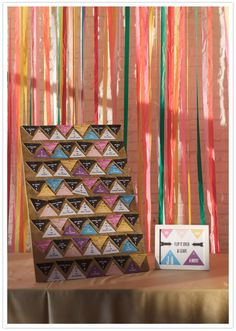 Colorful geometric escort cards are displayed on corkboard in front of a streamer backdrop — and they doubled as the guest book! Wedding Trends, Wedding Designs, Wedding Ideas, Wedding Details, Trendy Wedding, Diy Wedding, Wedding Stationery Inspiration, Wedding Inspiration, Wedding Cards