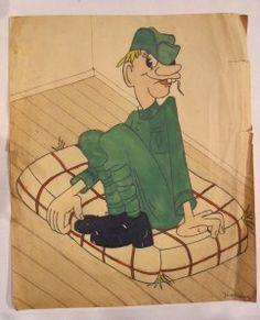 Legermuseum: Kunst, Krijg & Kitsch 2012, cartoon van een Nederlandse soldaat door Joop Geesink