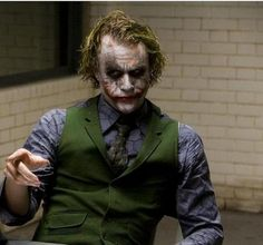 "Heath Ledger as 'The Joker' in ""The Dark Knight"". Joker Batman, Heath Ledger Joker, Joker Art, Der Joker, Joker Und Harley Quinn, Joker Frases, Joker Quotes, Batman Quotes, Funny Quotes"