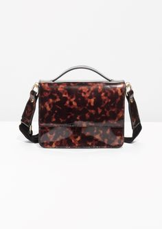 & Other Stories Patent Leather Tortoise Shell Mini Bag in Tortoise Shell