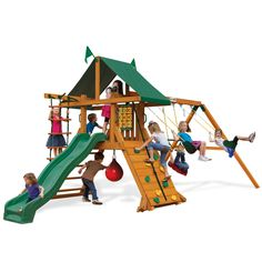 Let your kids go wild outdoors with the High Point swing set from Gorilla Playsets. This backyard swing set offers a little bit of everything to keep your kids happy, including swings, a climbing wall