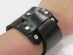 Black Leather Wide Cuff Leather Bracelet Hand Cut. $11.00, via Etsy.