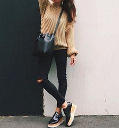 camel knit sweater, black distressed skinny jeans, platform shoes, black bucket bag