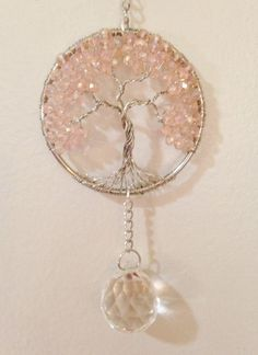 Crystal Sun Catcher Tree Of Life Window Ornament Crystal Ball Prism,Feng Shui Healing Crystal Gemstone Wire Tree Suncatcher,Pink Crystals