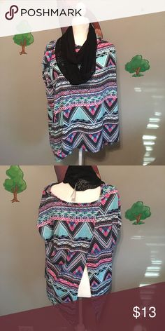 NWT cute top with scarf New with tags B & B Boutique top with scarf. Comes from a clean pet/smoke free home. The colors are teal, green, pink, black, and white B & B Boutique Tops Blouses