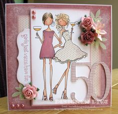 Victoria and Juliette 50th Birthday Cards For Women, 21st Birthday Cards, Cool Cards, Diy Cards, Card Making Inspiration, Card Sketches, Copics, Scrapbook Cards, Homemade Cards