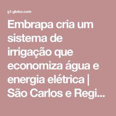 Embrapa cria um sistema de irrigação que economiza água e energia elétrica | São Carlos e Região | G1