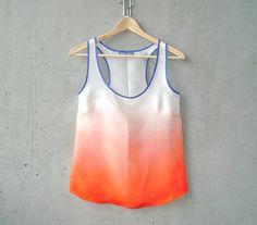 Orange Ombré Blouse  contrast navy trim hand by MegMilo on Etsy, $180.00