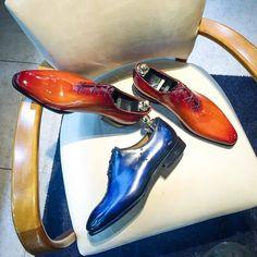 Altan Bottier Artisans Bottiers à Paris — Wholecut Tangerine Patent Patinated leather and An. Men's Shoes, Dress Shoes, Shoes Men, Brogues, Loafers, Derby, Monk Strap Shoes, Electric Blue, Chelsea Boots