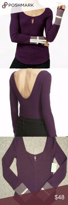 NWT Free People Keyhole Print Cuff Thermal Beautiful eggplant colored waffle knit thermal from free people. Cuffs are ribbed with stripes and clasp closures to open them to fit your style. Feel free to make an offer! Free People Tops