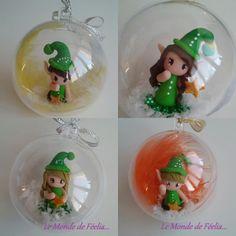 Boule de Noël Lutin et Lutine, efles vert en pâte polymère style Fimo, plume et neige : Accessoires de maison par lemondedefeelia