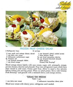 Vintage recipe for Frozen Fruit Cheese Salad. #vintage #recipes #salads #food