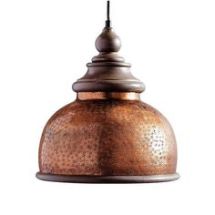 Lend an antique vibe to your d with our brilliantly weathered Micah Pendant. As if it had spent decades hanging over a pool table, we've given our    metal shade a richly textured copper finish. The shine of the shade is complemented by wood trim with a distressed matte finish.            Hanging light fixture with a weathered copper shade and wooden trim                Dome shape amplifies and focuses light on the table below    Included ceiling plate is 5 wide and 1 deep           Simpl...