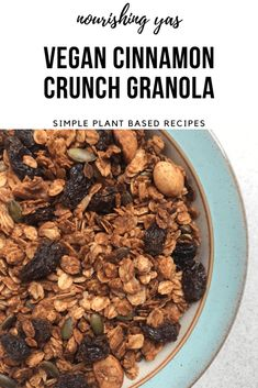 Vegan Cinnamon Crunch Granola | Nourishing Yas - Simple Plant based Recipes  #veganrecipes #veganbreakfasts #cinnamonrecipes #plantbasedbreakfasts #homemadegranola #granolarecipes #vegangranola #granola #veganfood #veganinspo #cinnamongranola