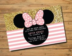 Minnie Mouse Birthday Invitations | Polka Dots | Gold and Pink | Girl Birthday Invites | Oh Two-dles | Glitter | Bow | First Birthday
