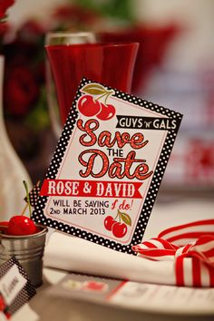 Cherry Motown Save the Date American Diner Themed 1950s Red White Black Polka Dot Retro Wedding Stationery by In the Treehouse