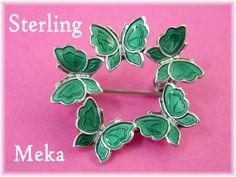 Meka - Green Butterfly Wreath Guilloche Enamel Sterling Silver Brooch Pin - Denmark Estate Antique - Garden Flower Bird - FREE SHIPPING by FindMeTreasures on Etsy