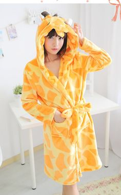 2015 New plush robe Animal Pajamas giraffe Pajamas Sleepsuit lovely  Sleepwear Unisex bathrobe robes for women 5ba317d8a