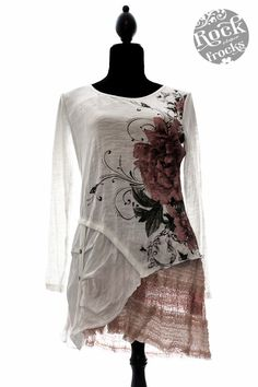 Lagenlook Boutique Cream Asymetric Floral Print Lace Trimmed Tunic Top (Size L) | eBay