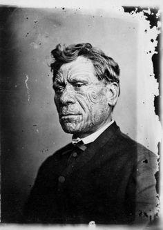 Unidentified Maori man with moko, circa 1880. Photographer unidentified.