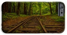 Train tracks in the woods iPhone 6 Case by robert smith $34