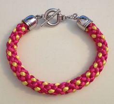 Pink and yellow Hollow Braid Kumihimo bracelet by Jewellery by Janine https://www.facebook.com/JewelleryByJanine