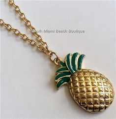 Gold Hawaiian Pineapple Necklace Pendant Island Beach Sweater Long 23 inch USA #SouthMiamiBeachBoutique #Pendant