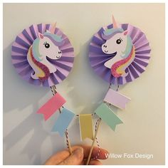 Unicorn Party topper, banner created by Willow Fox Design. Using Unicorn head SVG cutting files, Unicorn SVG, DXF, Silhouette, Cricut