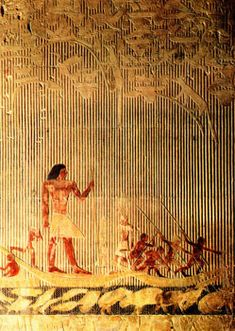 THE OLD KINGDOM: Ti Watching a Hippopotamus Hunt - Painted limestone relief. Landscape setting - papyrus thicket background. Top scene - nesting birds and small predators. Zig zag pattern at bottom marks water with struggling hippopotamuses and fish. Ti towers above other men - more important. He observes hunt. Passive roll represents body dead - spirit alive. Tomb art. c. 2400 B.C. LOCATION: TOMB OF TI, SAQQARA