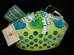 Baby gifts in a laundry hamper!