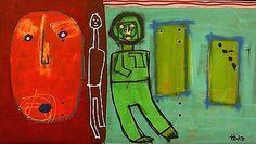 MYSTERY-DOOR-Hoke-Outsider-RAW-Folk-Abstract-Art-Brut-Painting-Naive-Grafitti