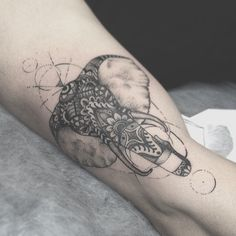 Lines shapes and dots. #Elephanttattoo #dotwork