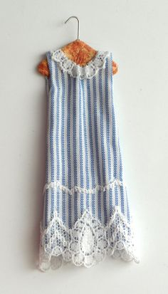OOAK 1/12 Scale Miniature Vintage Blue Stripe Dress on Hanger