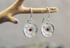 Silver and garnet dangle earrings Garnets In Chains by mumijumi