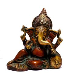 (SKU NO.Ganesha brass Indian Religious Gift Two Tone God Ganesha Idol Resting on a Pillow Brass Sculpture Statue Kali Statue, Saraswati Statue, Lord Shiva Statue, Krishna Statue, Brass Statues, Durga Goddess, Religious Gifts, Indian Gods, Collectible Figurines