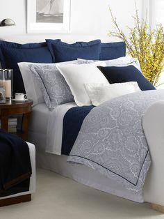 (I would use Ivory Grey or Butter cream isntead of white.  Navy Brentwood Paisley Bedding - Bed Collections   Home - RalphLauren.com