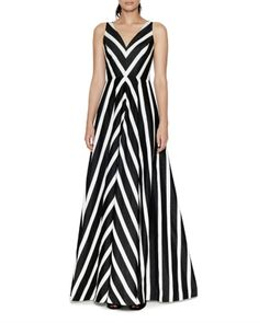 Halston Heritage Evening Gowns encompass glamorous accents and iconic Halston silhouettes by incorporating details like sequins, drapes, patterns, & chiffon. Indian Gowns, Stripes Fashion, Halston Heritage, Striped Maxi Dresses, Chic Dress, Dress Patterns, Designer Dresses, Evening Dresses, Party Dress