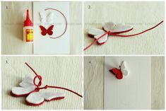 KrasArt is under construction Diy Butterfly, Butterfly Cards, Spring Activities, Craft Activities For Kids, Dyi Crafts, Arts And Crafts, Craft Projects, Projects To Try, Felt Bookmark