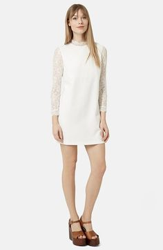 Topshop Mock Neck Shift Dress