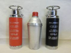 3 Vintage Cocktail Shakers Thirst Extinguisher Musical Red & Black
