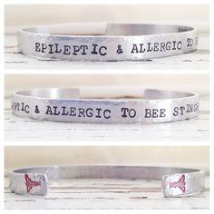 Medical Alert Bracelet any condition diabetes HBP epilepsy heart gluten seizures peanut allergy COPD hand stamped aluminum bracelet custom