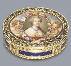 Fine Louis XVI jewelled and enamelled gold snuff box with a miniature depicting the Comtesse Du Berry. c.1770.