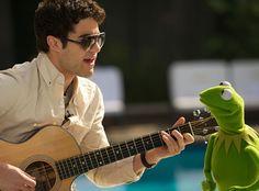 Glee& Darren Criss and Kermit: Sneak Peek Pics From Video Duet . Team Starkid, Finn Hudson, Rachel Berry, Kermit The Frog, Chris Colfer, Cory Monteith, Kid Memes, Lea Michele, Darren Criss
