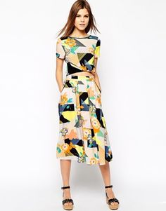 Image 1 - Warehouse 80'S Floral Midi Skirt