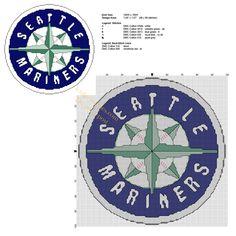 Seattle Mariners MLB Team logo free cross stitch pattern - free cross stitch patterns by Alex Mlb Team Logos, Mlb Teams, Sports Teams, Free Cross Stitch Charts, Cross Stitch Patterns, Stitching Patterns, Homemade Coasters, Seattle Mariners, Mariners Baseball