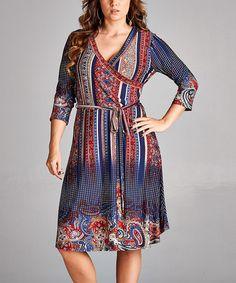 Navy & Wine Arabesque Wrap Dress - Plus #zulily #zulilyfinds
