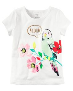 Baby Girl Aloha Parrot Graphic Tee from Carters.com. Shop clothing & accessories from a trusted name in kids, toddlers, and baby clothes.
