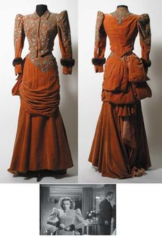 An intricately designed two piece apricot velvet jacket and gown, worn by Judy Garland in her starring lead role as Lily Mars in the 1943 MGM musical Introducing Lily Mars