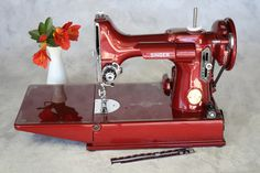 Singer 221 Featherweight sewing machine refinished in red. Follow the link to see every color.